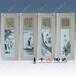 手繪人物高仕圖四扇屏客廳裝飾瓷板畫