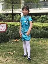 女童旗袍短袖春夏华丽锦缎复古连衣裙8333图片