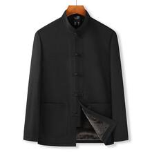 男士純色休閑唐裝中國風加絨加厚棉衣年輕人秋冬外套圖片
