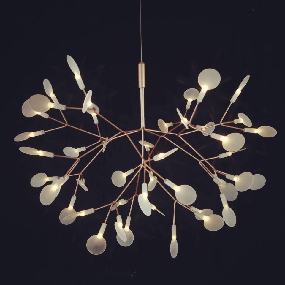 led橄榄枝雪花叶子艺术吊灯树枝萤火虫吊灯多头亚克力创意树枝灯