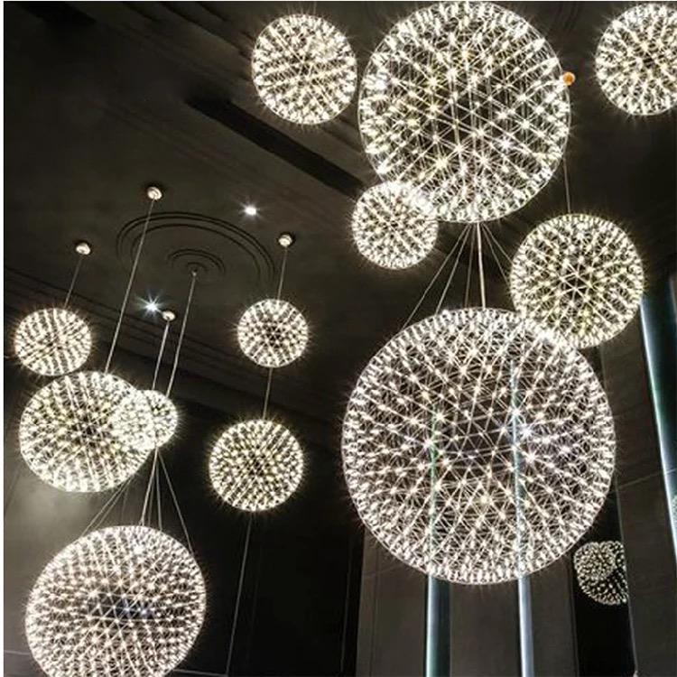 广州LED星星圆球灯厂家批发时尚LED烟火花星球满天星吊灯