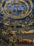 购物广场中心室内中堂天井新款灯具厂家批发中堂中庭天棚新款moooi圆球LED星空火花球吊灯具工厂图片