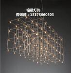 定制非标工程灯酒店大堂复式楼LED不锈钢吊灯沙盘艺术LED萤火虫吊灯图片