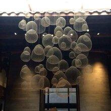 铭星灯饰设计手工编织餐厅酒吧酒店工程创意led满天星云朵吊灯北欧铁丝网吊灯图片