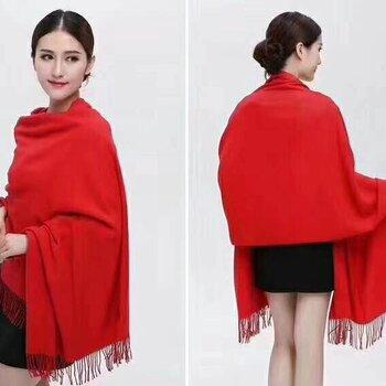 中國紅大紅加長加寬羊絨圍巾西安年會禮儀紅圍巾繡花印logo