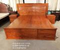 非洲花梨木辉煌大床三件套书柜顶箱柜红木家具定制