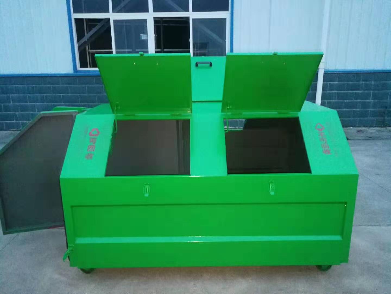 3方碳鋼可卸式分類垃圾箱圖片