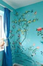 手绘真丝墙纸刺绣壁布宣传及特性图片