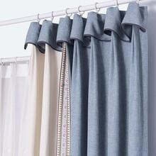 窗帘效果图北欧中式新古典简约纯色遮光成品窗帘定制