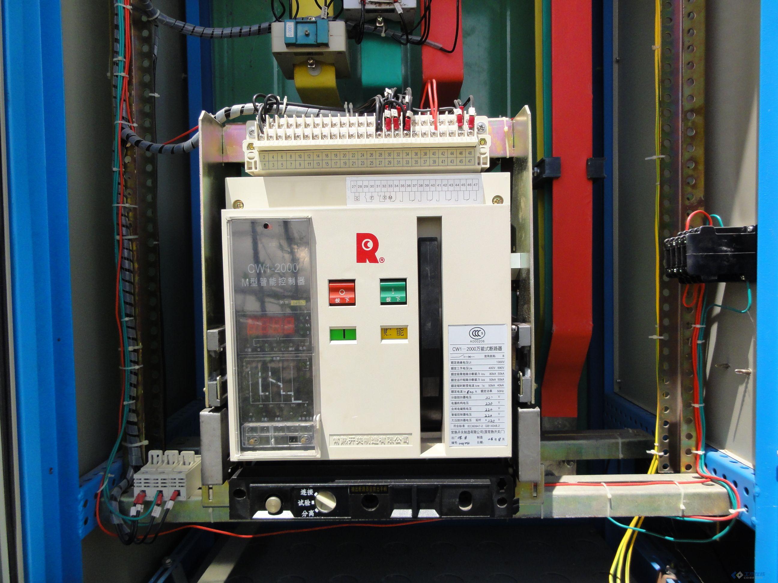 cw1一2000低压智能断路器一次电源侧接线图
