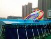 江苏盐城室外支架游泳池,大型成人钢管水池水滑梯乐园趣味多