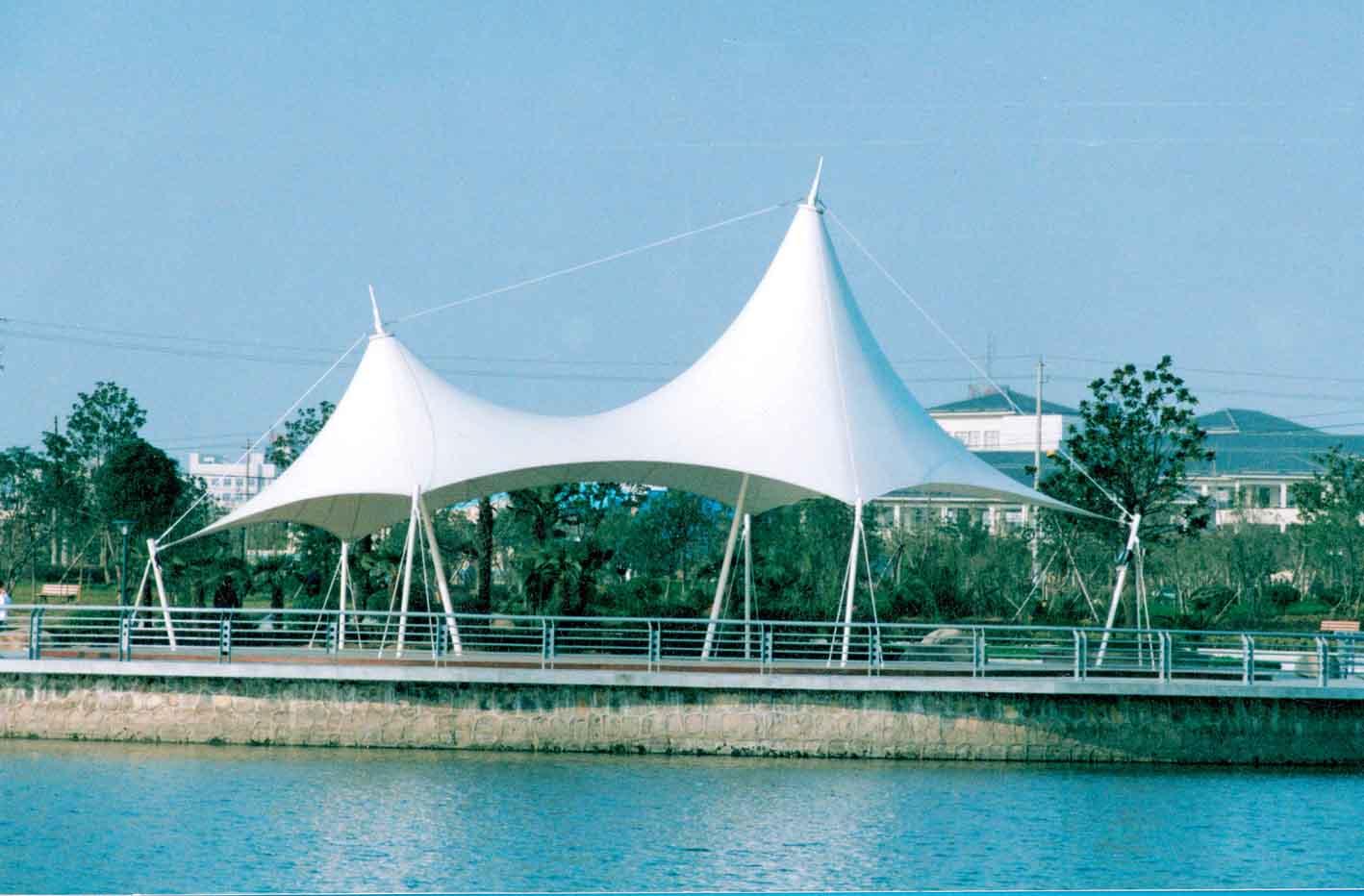 进口膜布加工制作休闲景观棚操场网球场膜结构设计