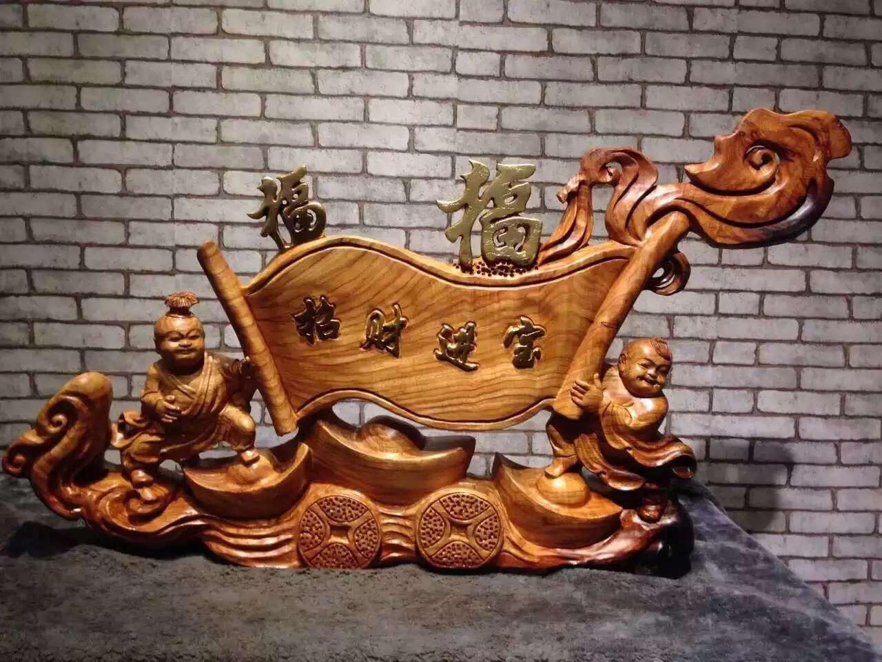 礼品家居摆件木雕童子如意
