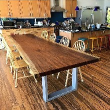 南美胡桃木实木大板桌会议桌新中式家具原生态电脑办公桌组合椅图片