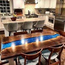 胡桃木实木环氧树脂大板餐桌餐厅现代北欧家具餐桌椅组合树脂家具图片