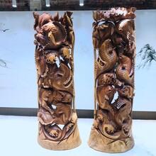 香樟木根雕年年有余鱼工艺品家居办公摆件木雕生肖动物镇宅图片