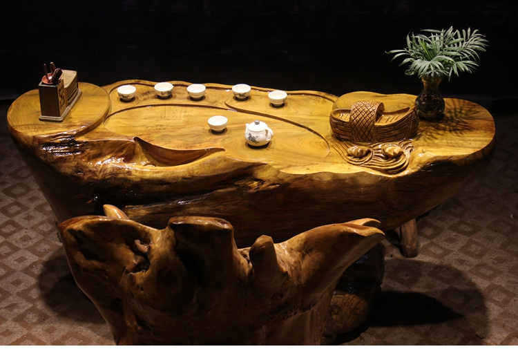 楠木根雕茶桌208-115-73天然脚根雕茶几整体树根功夫茶台