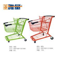 供應雅量精品超市購物車KTV手推車新款金屬雙層購物車