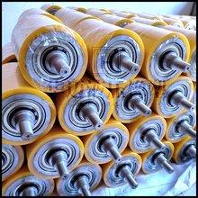 双轴承滚筒包胶带轴输送设备导向胶轮定做浇注一体成型耐磨PU图片