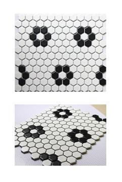 六角砖厂家黑白梅花六角陶瓷马赛克瓷砖欧式宜家厨房