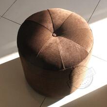 百佳贝迪咖啡色圆凳现代风格布艺沙发凳换鞋凳时尚布艺坐凳