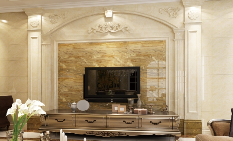 欧式罗马柱大理石电视墙装修效果图大全2015图片
