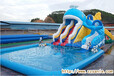 圆形充气水池+充气水滑梯组合一款儿童水乐园