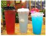 山东青岛厂家供应一次性塑料奶茶杯饮料杯果汁杯带盖