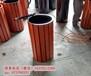 供应环畅hc3011户外圆形木条垃圾桶上投口垃圾桶